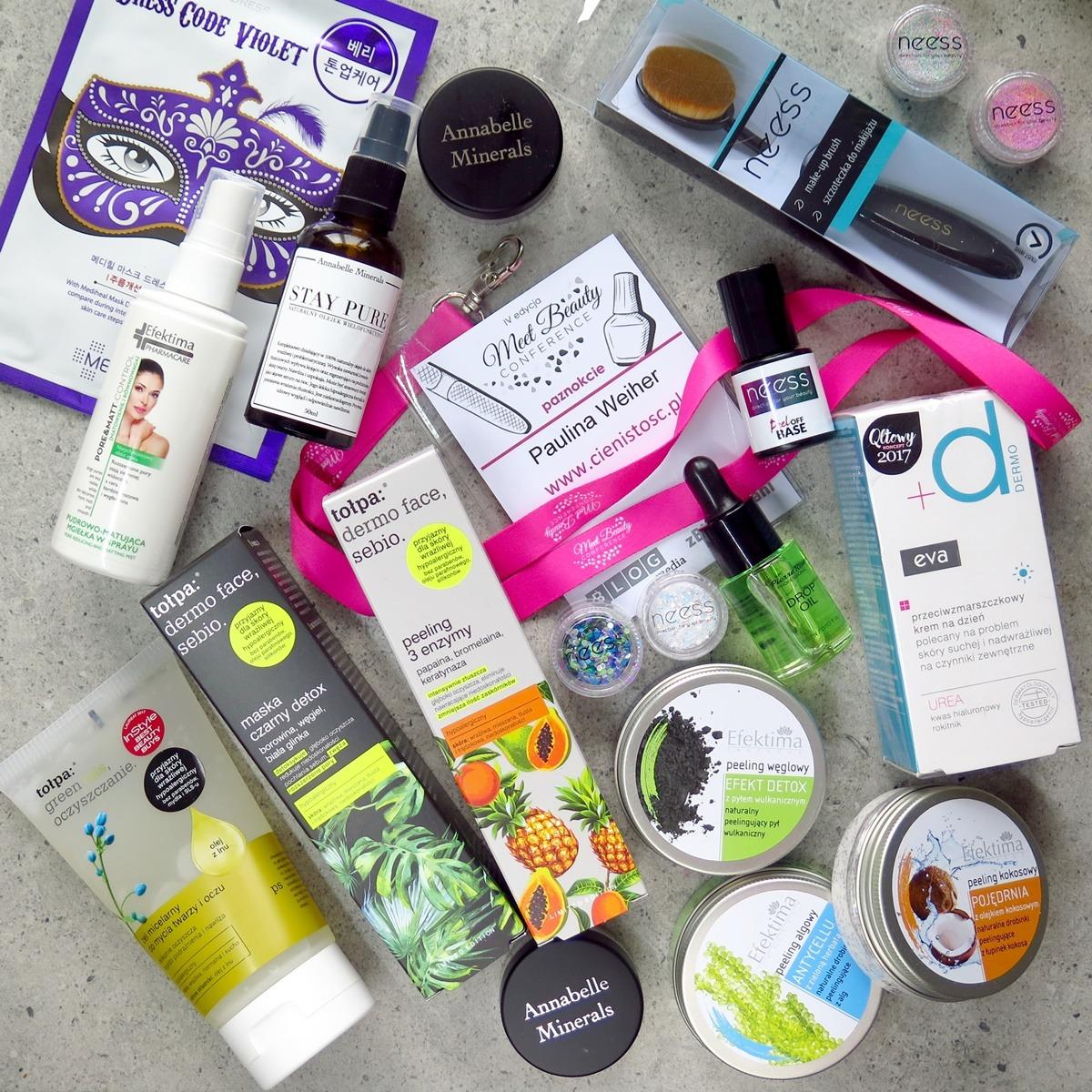 Kosmetyki blogerki urodowej meet beauty konferencja - tołpa, efektima, pollena eva dermo, neess, annabelle minerals, mediheal