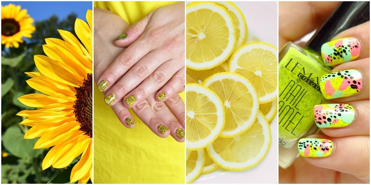 inspiracje w kolorze żołtym trendy 2018 żółty zdobienia stylizacje paznokci