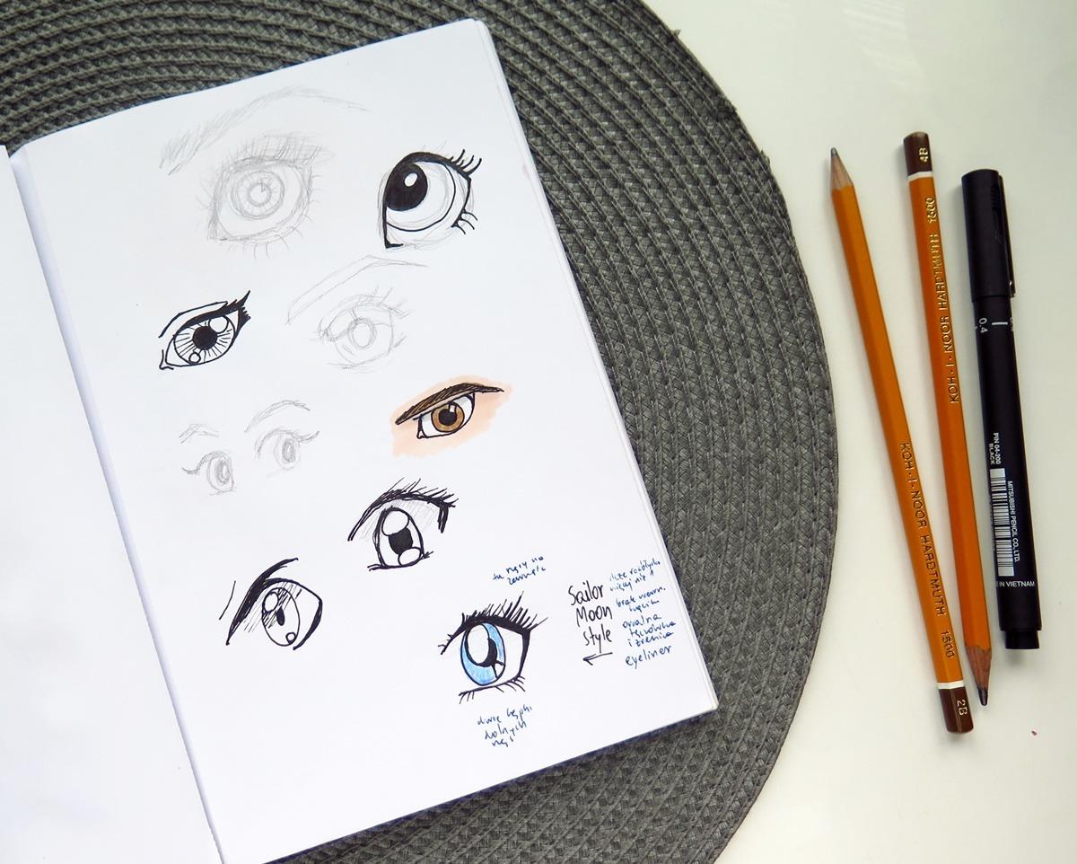 jak nauczyć się rysować oczy szkicownik dla początkujących rady manga anime