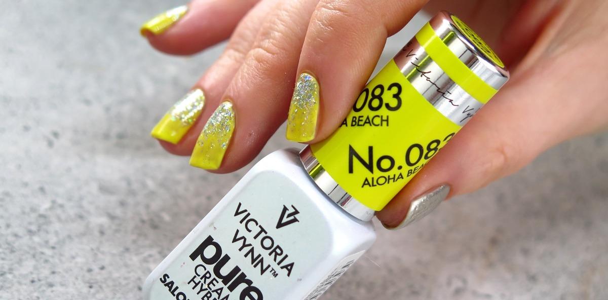 żółte paznokcie lakier hybrydowy hybryda victoria vynn 083 aloha beach