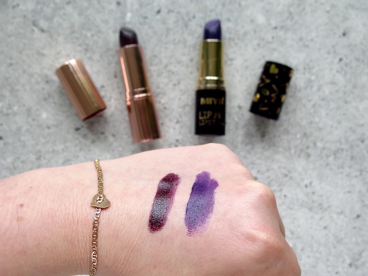szminka makeup revolution renaissance exempt czarna ciemna fioletowa swatch miyo 03 cruella de vil