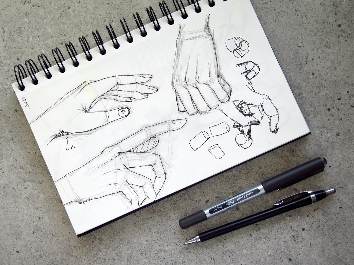 szkicownik szkic nauka rysowania dłonie schemat