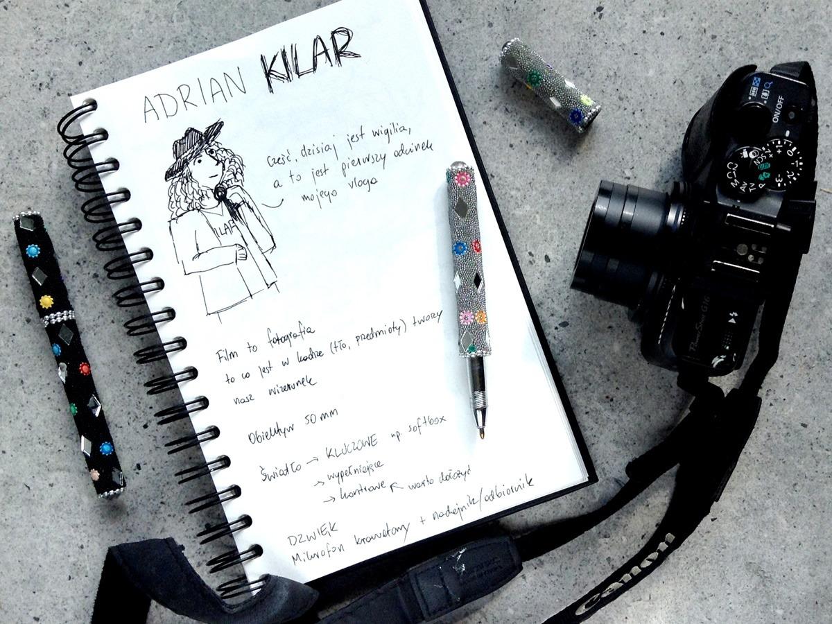 Adrian Kilar robienie vlogów i video - notatki w bullet journal