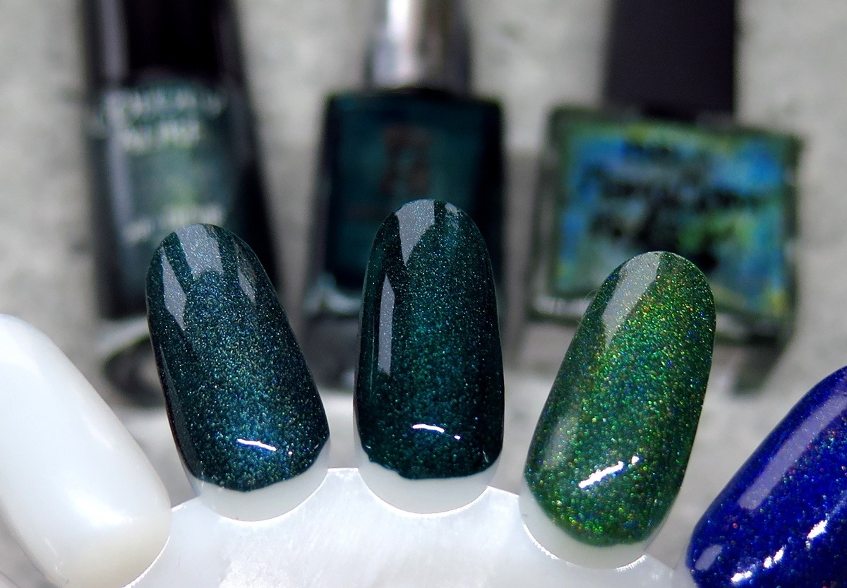 green holographic nailpolish dupe swatch comparison holo