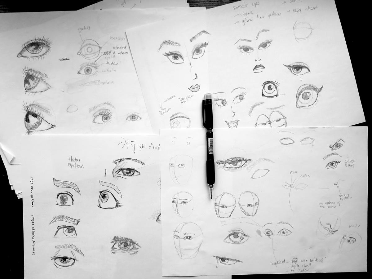 jak narysować oko ćwiczenia szkice