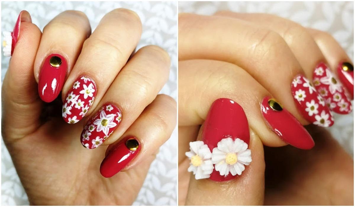 zdobienie paznokci kwiaty 3d