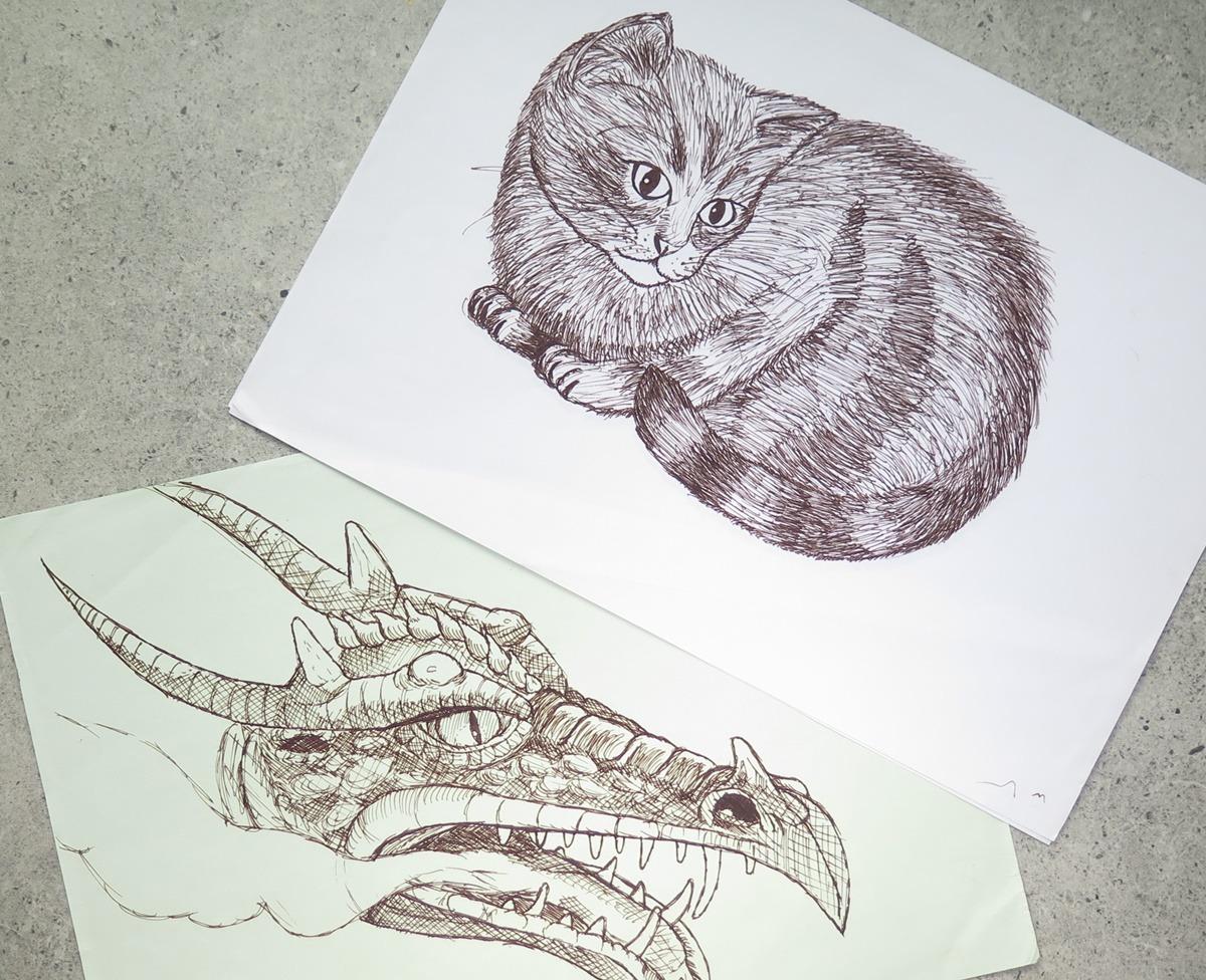 rysunek lineart cienkopis kreskowanie cieniowanie smok kot