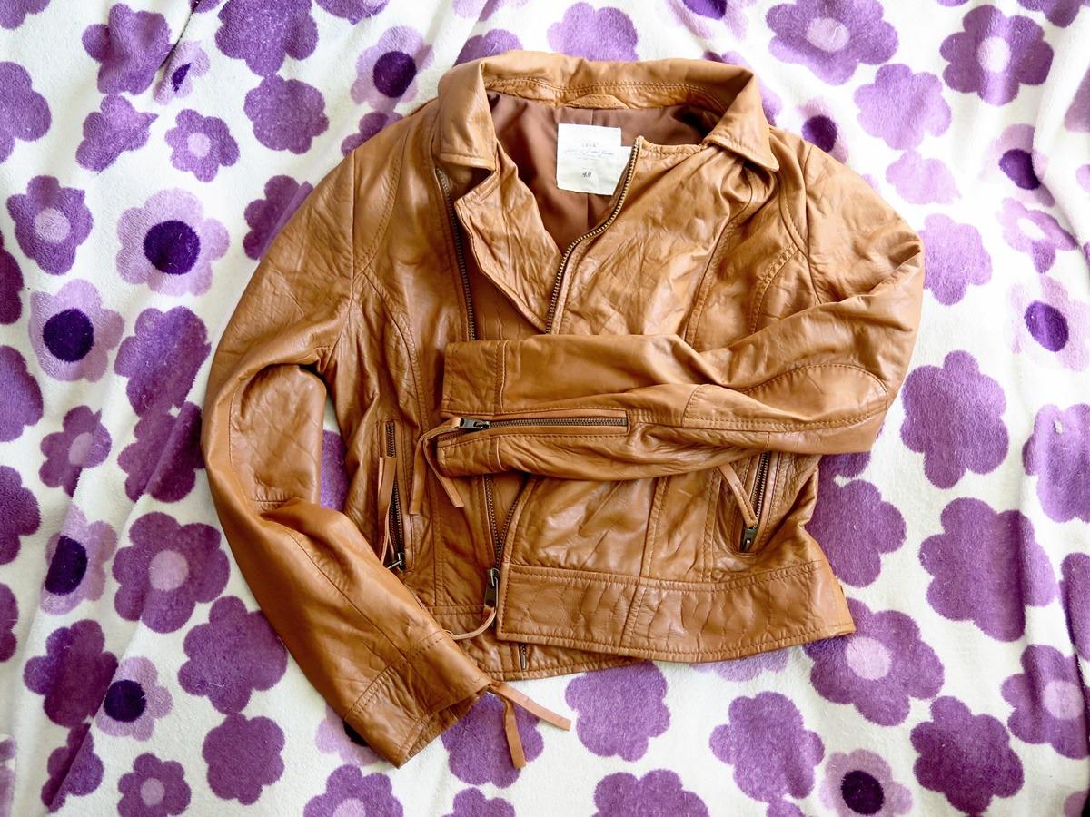 skórzana kurtka brązowa używana z naturalnej skóry