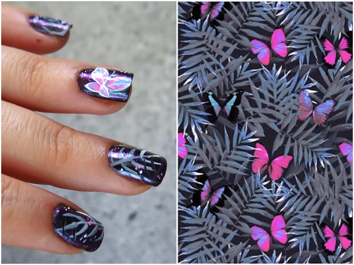 Zdobienie paznokci tropikalne liście motylek pastelowy fioletowy różowy pazurki
