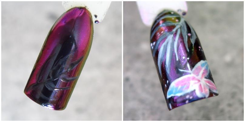 zdobienia paznokci wzornik hybrydy mieniący się pyłek jak benzyna żuczek indigo metalmanix multichrome chameleon infinity