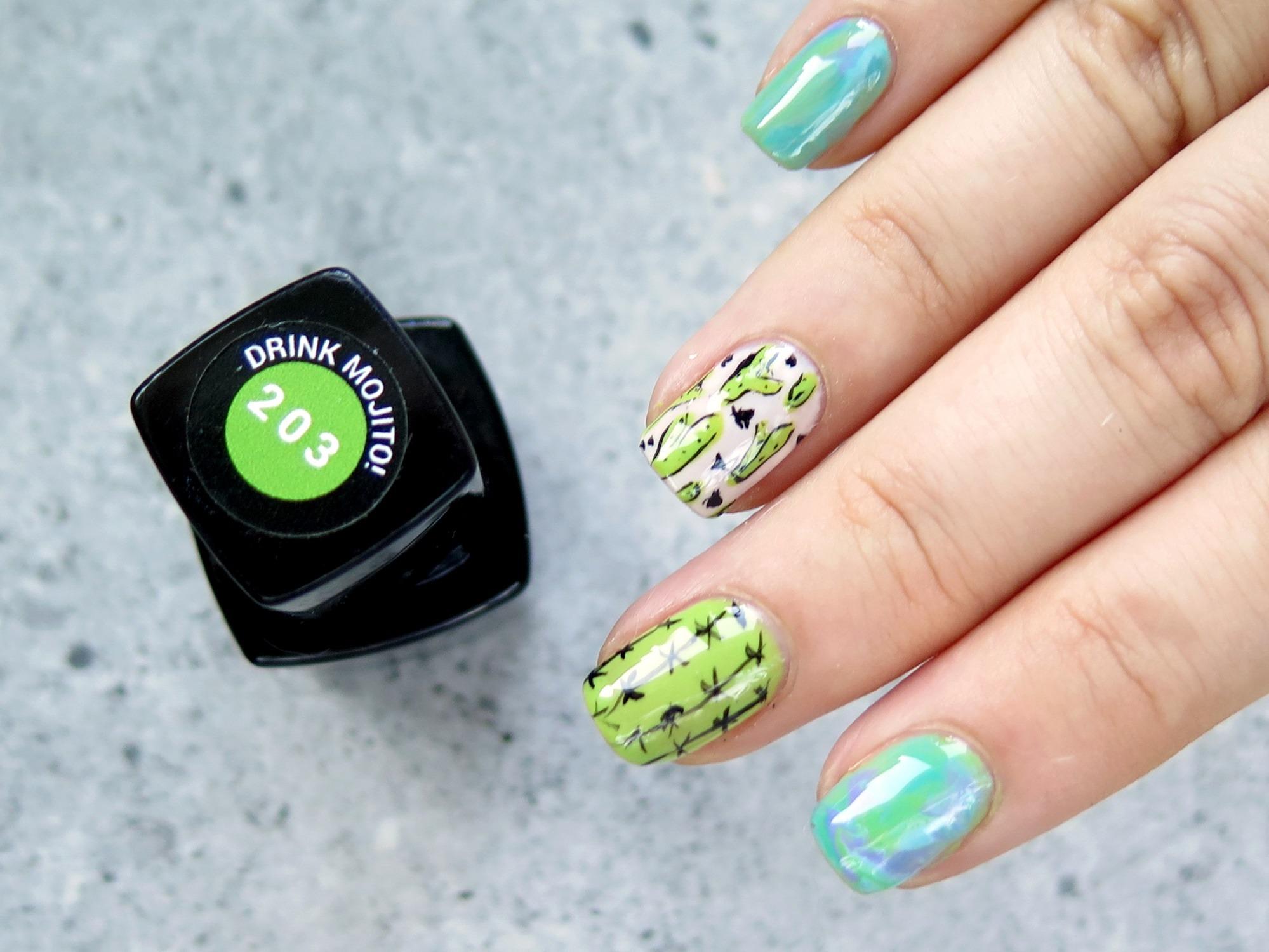 paznokcie zielone w kaktusy wzory