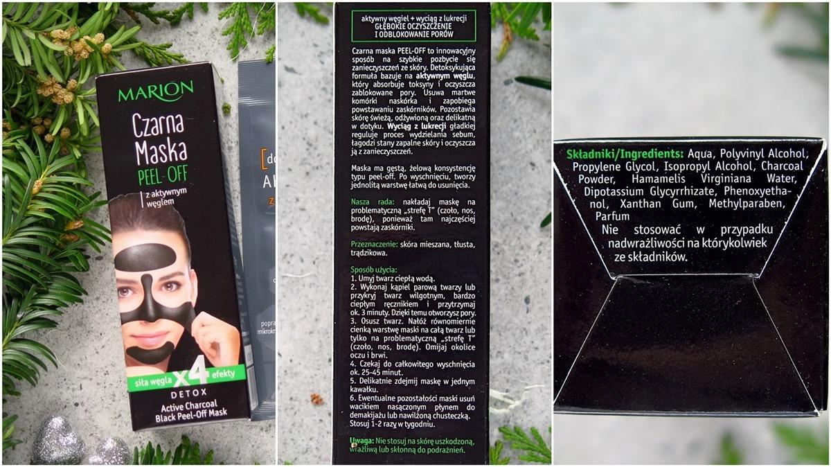Marion czarna maska peel-off opakowanie skład inci składniki opinie blog recenzja
