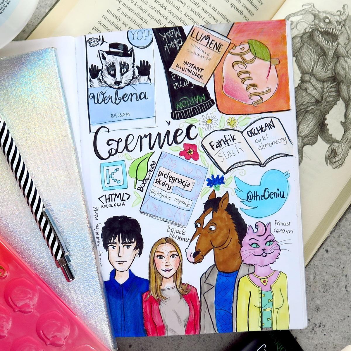 rysunek art journal ulubieńcy miesiąca szkicownik