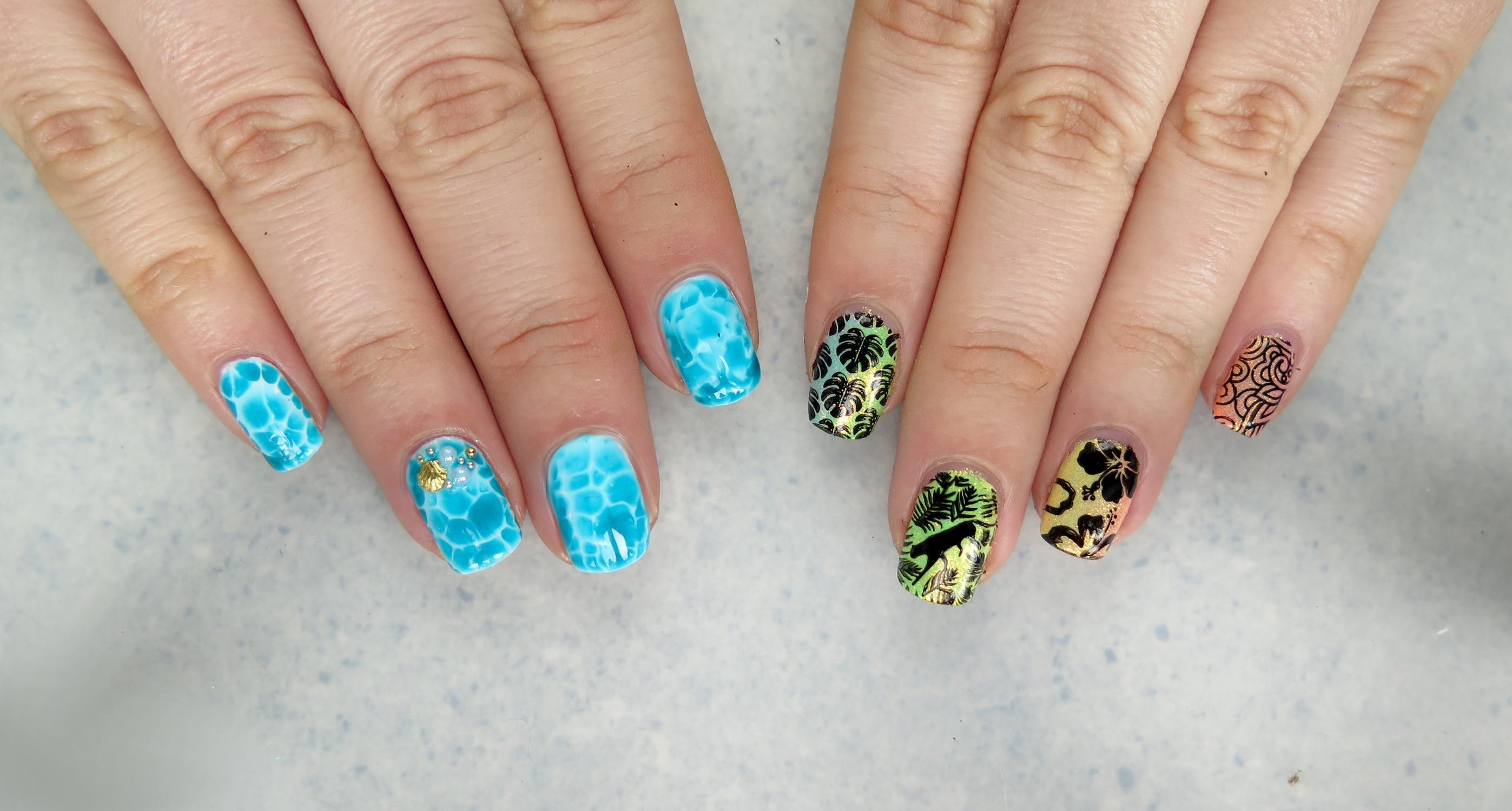 zdobienie paznokci na lato wakacje tropikalne