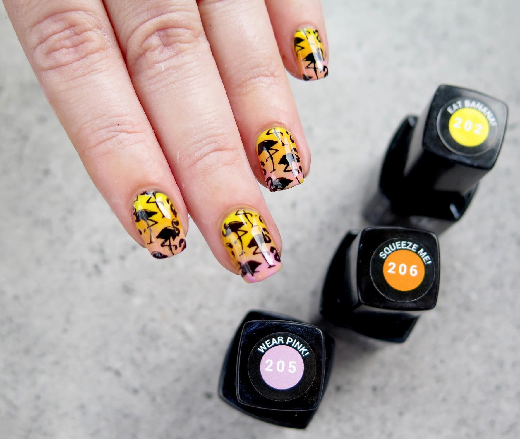zdobienie paznokci evo nails lakiery hybrydowe gradient ombre wzory na lato