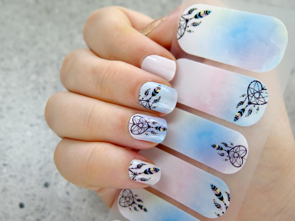 manirouge termiczne naklejki na paznokcie lakierowniczka dream catcher łapacz snów pastelowe niebieskie