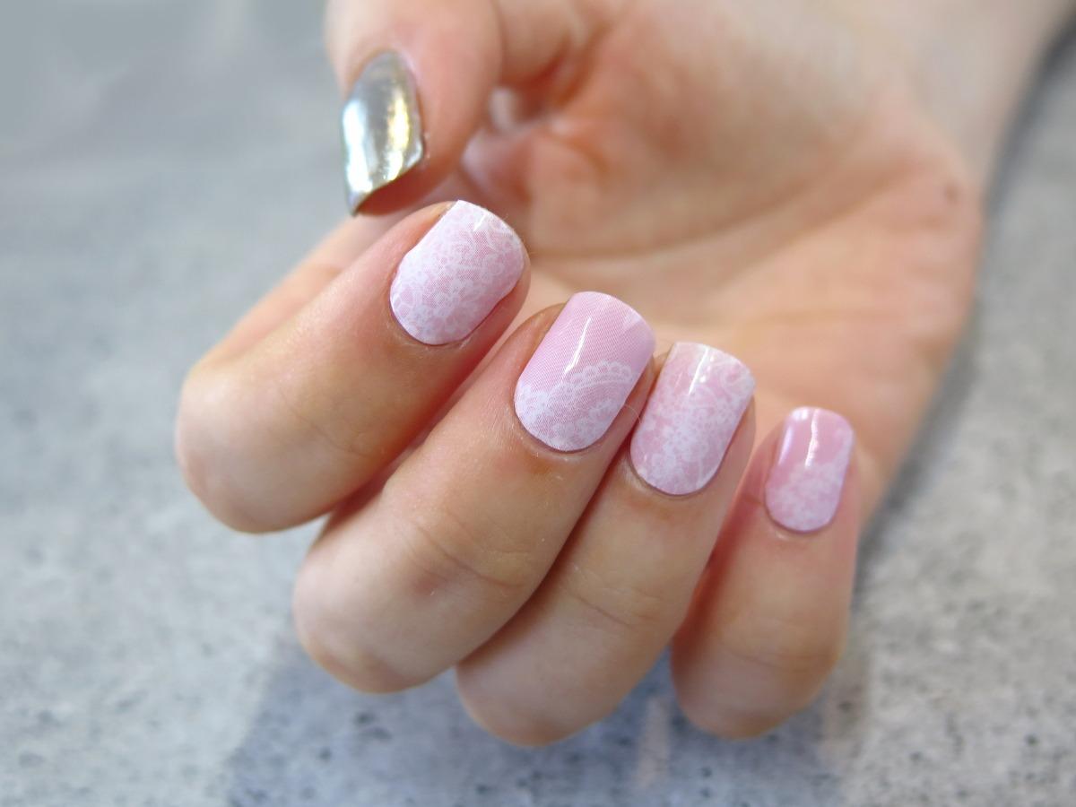naklejki termiczne na paznokcie manirouge pasje karoliny koronka delikatne ślubne