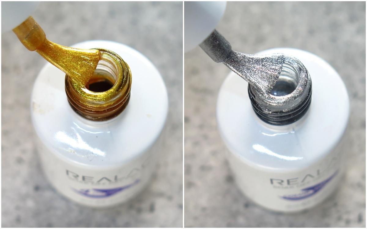 złoty i srebrny lakier hybrydowy