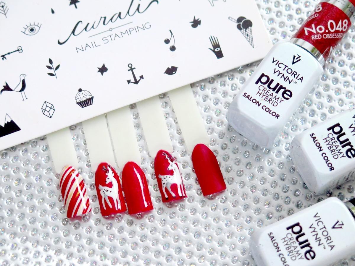 wzornik nail art na święta czerwone paznokcie