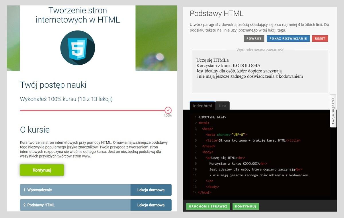 kodologia kurs html jak wygląda zadania