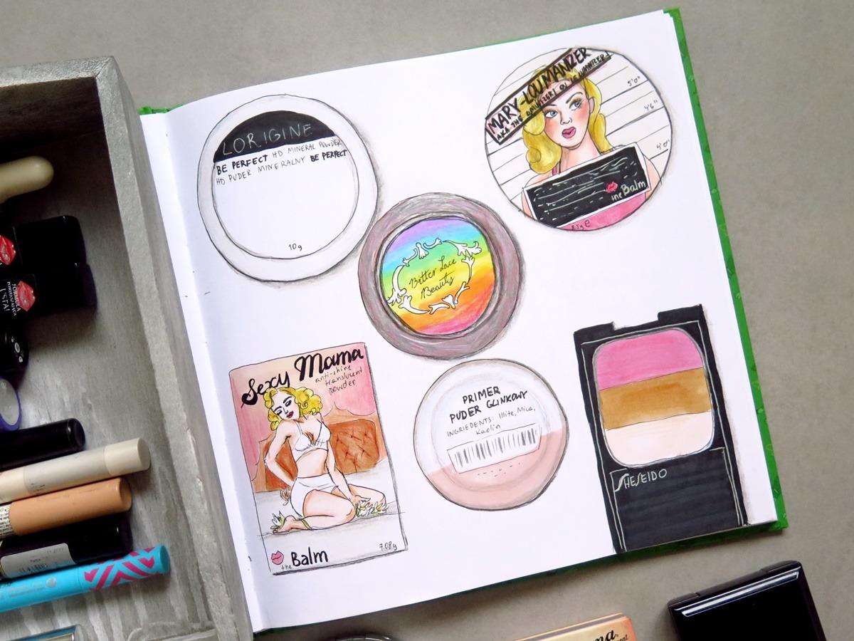 szkicownik rysunki kosmetyków do makijażu project pan