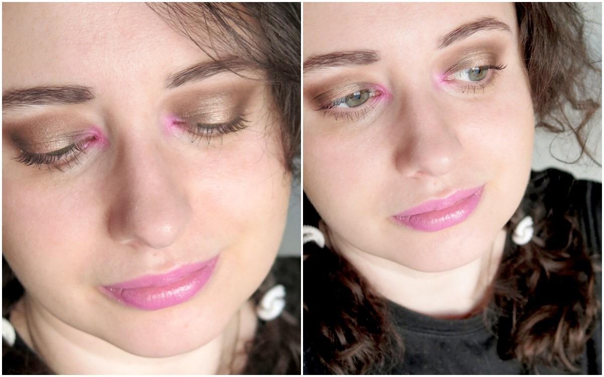 modny makijaż 2019 różowy kolorowy akcent w wewnętrznym kąciku oka cienie do powiek